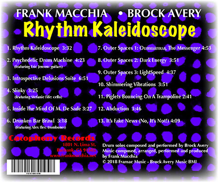 Backcover of Rhythm Kaleidoscope showing tracks and credits
